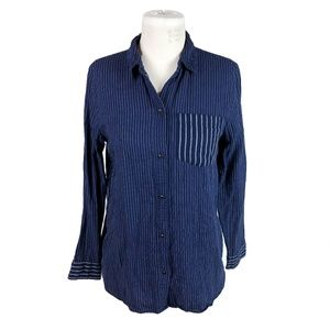 Madewell XS Dark Blue Striped Button Down Shirt